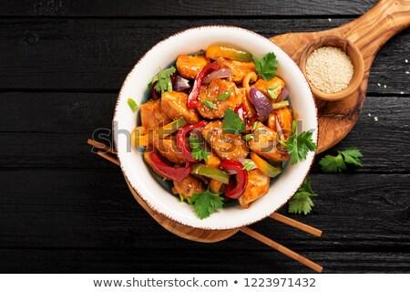 Thai tyúk chili narancs mártás rizs Stock fotó © zoryanchik