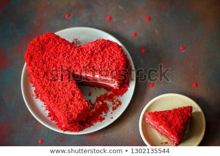 heart shaped red velvet cake stock photo © lana_m