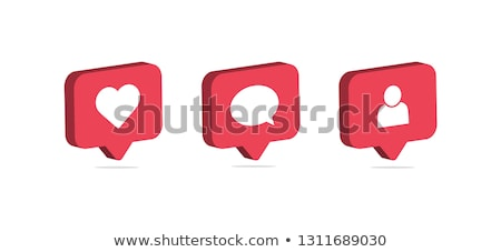 notifications icon like speech bubble like icon with heart stock photo © foxysgraphic