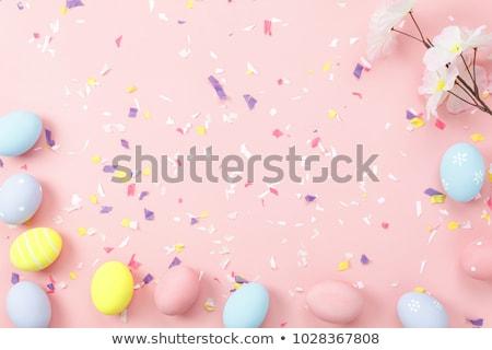 páscoa · ovos · de · páscoa · flores · da · primavera · topo · ver · cópia · espaço - foto stock © grafvision