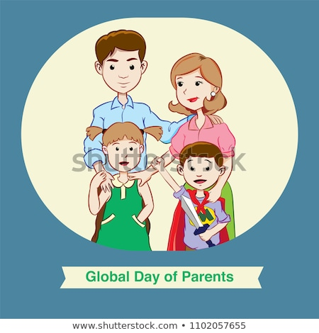 Happy Family Parents Poster Vector Illustration Stock photo © robuart
