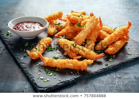 Shrimps tempura with spicy chili sauce Stock photo © grafvision