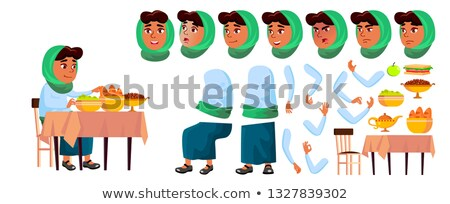 Arab, Muslim Girl Vector. Animation Creation Set. Face Emotions, Gestures. Smile. Food, Table, Lunch Stock photo © pikepicture