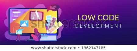 Düşük kod gelişme afiş bilgisayar Stok fotoğraf © RAStudio