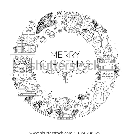 Noël · icônes · arbre · de · pin · forme · carte · de · vœux - photo stock © robuart