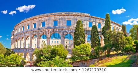 Stock photo: Arena Pula historic Roman amphitheater panoramc green landscape