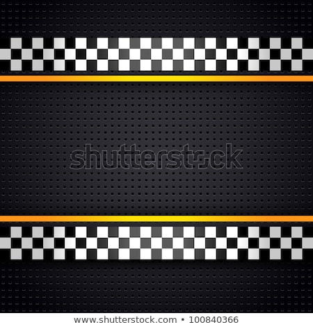 Stockfoto: Checkered Race Flag Vector Illustration On Dark Grey Background