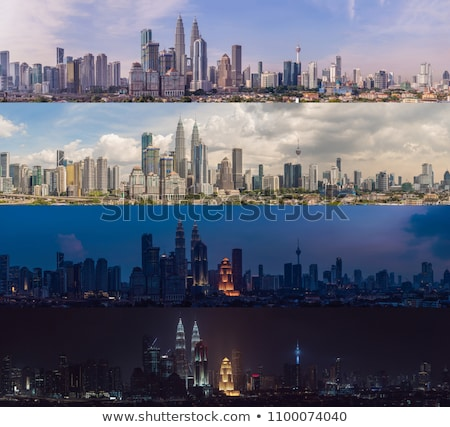 Morning afternoon Evening Night. Four time of day. Kuala Lumpur skyline, view of the city, skyscrape Stock fotó © galitskaya