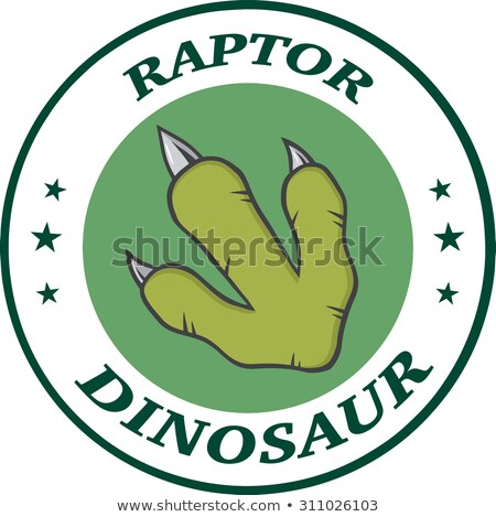 Vert dinosaures patte cercle conception de logo Photo stock © hittoon