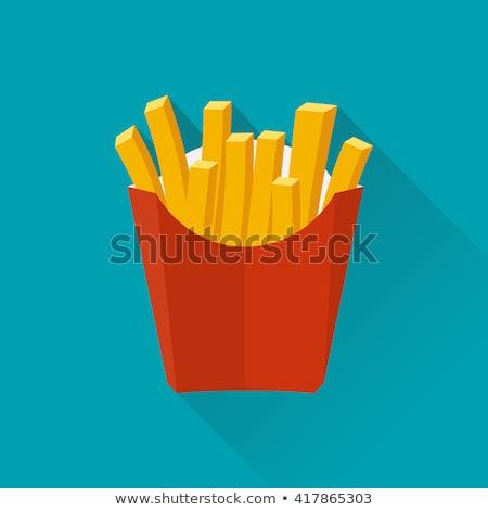 cartoon · frytki · czarno · białe · ilustracja · uśmiechnięty · żywności - zdjęcia stock © bennerdesign