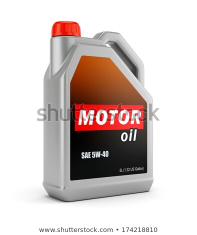 plastic canister motor oil and car on white background. Isolated Stock photo © ISerg