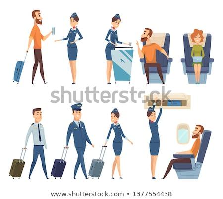 パイロット スチュワーデス 作業 飛行 空港 パターン ストックフォト © netkov1