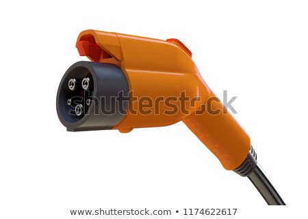 Stock photo: Red electro car on white background. Isolated 3D illustration