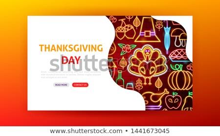 Happy Thanksgiving Day Neon Landing Page Stock photo © Anna_leni