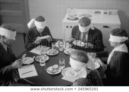 Bekötött szemű férfi tesztelés étel portré fiatalember Stock fotó © AndreyPopov