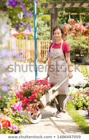 Young garden center worker with cart standing on aisle between flowerbeds Stock photo © pressmaster