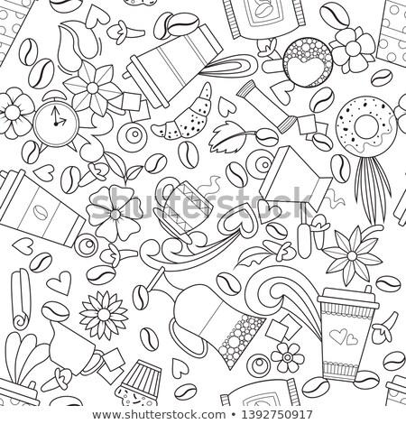 Muffin croissant papier koffiekopje vector illustratie Stockfoto © cidepix