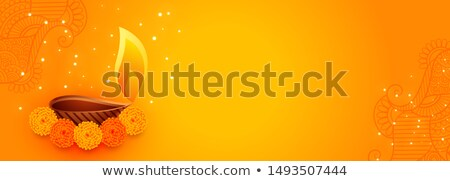 Stock photo: attractive diwali banner with beautiful flowers and diya lamp