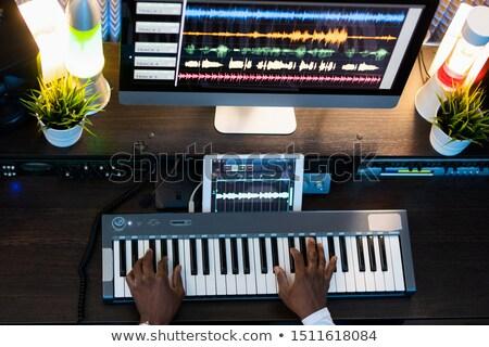 siyah · piyano · klavye · levha · bulanıklık - stok fotoğraf © pressmaster