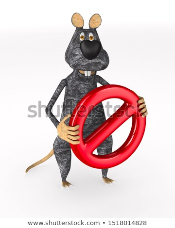rat with sign forbidden on white background. Isolated 3d illustr Stock photo © ISerg