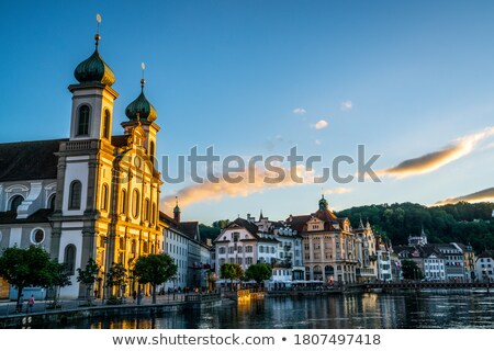 Luzern Jesuit Church sunset view Stock photo © xbrchx