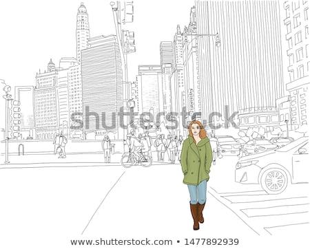 Rua táxi cair cityscape arranha-céus outono Foto stock © robuart