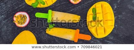 Bannière maison crème glacée mangue passion fruits Photo stock © galitskaya