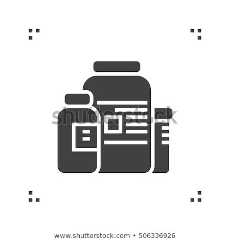 Gyógyszer egészségügy üvegek kiegészítők ikon vektor Stock fotó © pikepicture