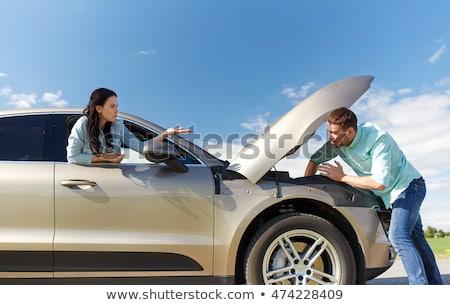 Paar Open kapotte auto platteland weg reis Stockfoto © dolgachov