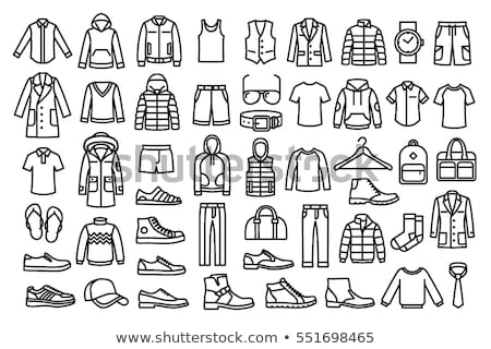 homme · mode · vêtements · icônes · vecteur - photo stock © stoyanh