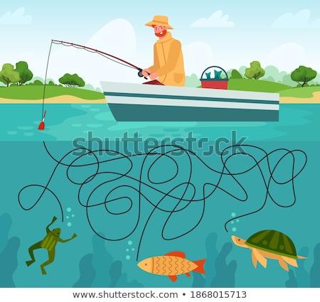 面白い ゲーム 漁師 フック 塗り絵の本 子供 ストックフォト © Olena