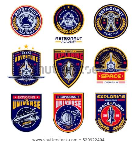 Espace exploration navire badge étiquette logo Photo stock © vector1st