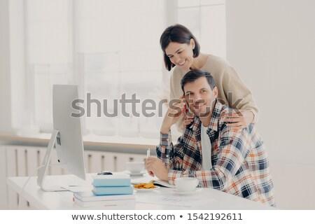Frau Ehemann Unternehmer Telefon Gespräch Stock foto © vkstudio