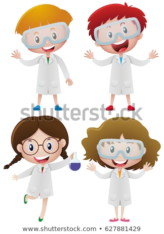Boy and girl in science gown on isolated background Stock photo © bluering