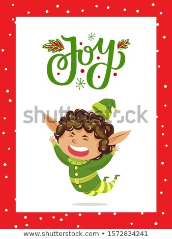 Christmas Holiday Joy Caption, Elves Greeting Card Stock photo © robuart
