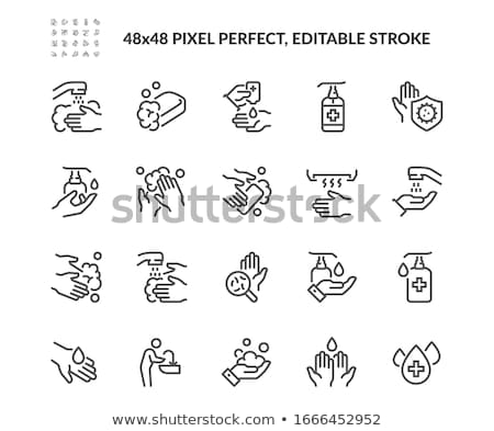 Hands And Liquid Soap Icon Outline Illustration Stock photo © pikepicture
