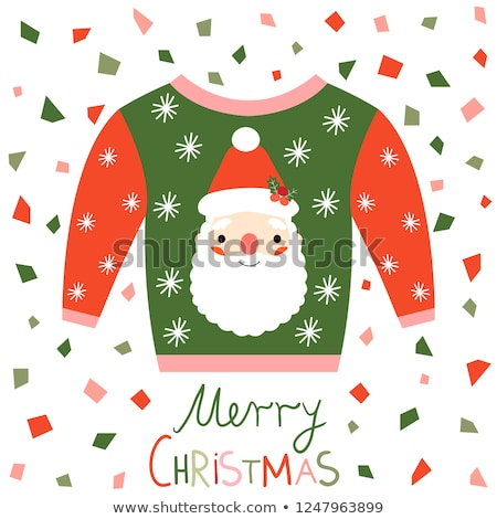 Red Pink And Green Vector Ugly Christmas Sweater With Santa Claus Greeting Card Stockfoto © Pravokrugulnik