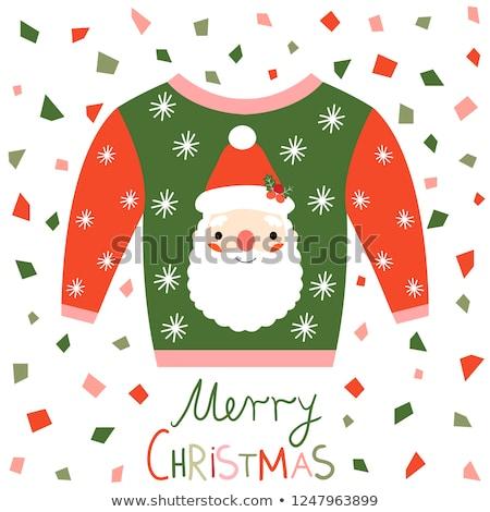 Piros rózsaszín zöld vektor csúnya karácsony Stock fotó © Pravokrugulnik