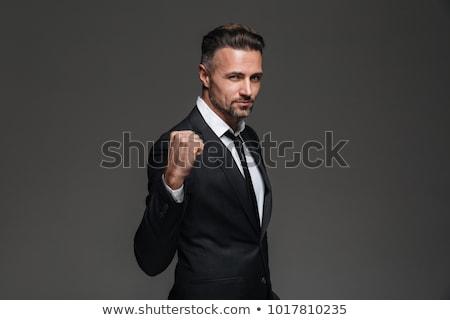 Férfi mutat siker szakállas póló nyerő Stock fotó © Giulio_Fornasar