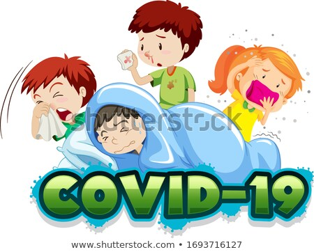 Covid 19 sign template with many sick children Stock photo © bluering