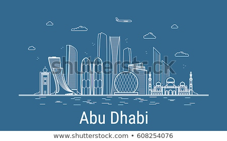 Outline Abu Dhabi City Skyline with Blue Buildings.  Stock photo © ShustrikS