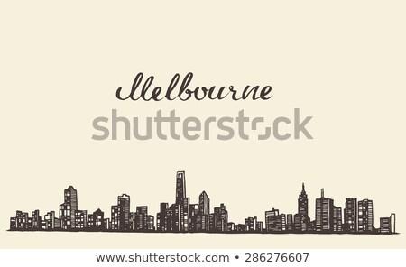 Melbourne linha do horizonte silhueta esboço Foto stock © ShustrikS