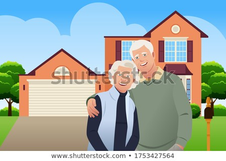 Retired Senior Couple in Front of Their House Vector Illustratio Stock photo © artisticco