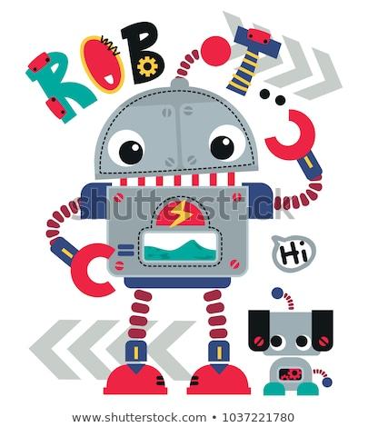 Komik karikatür robot sevimli Retro Stok fotoğraf © designer_things