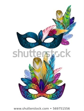 Set of bright colorful masquerade masks on white Stock photo © evgeny89