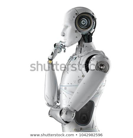 мышления белый гуманоид робота 3d иллюстрации технологий Сток-фото © limbi007