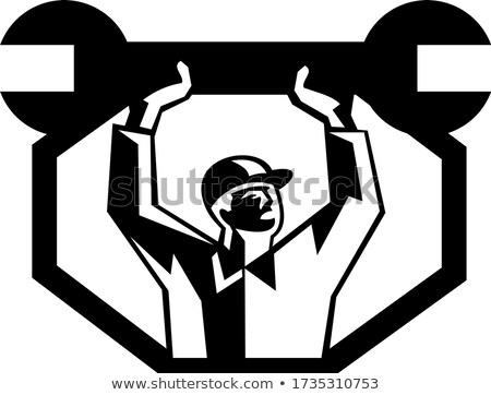Mechanic Lifting Spanner Wrench Retro Black and White Stock photo © patrimonio