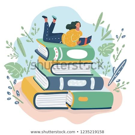 Vrouw lezing bibliotheek vector metafoor Stockfoto © RAStudio
