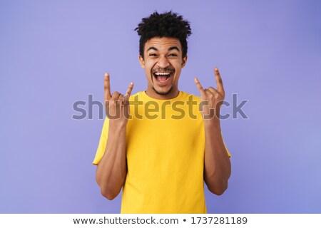 Foto animado africano americano homem chifre Foto stock © deandrobot