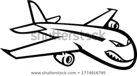 Angry Jumbo Jet Plane Flying Mascot Black and White Stock photo © patrimonio